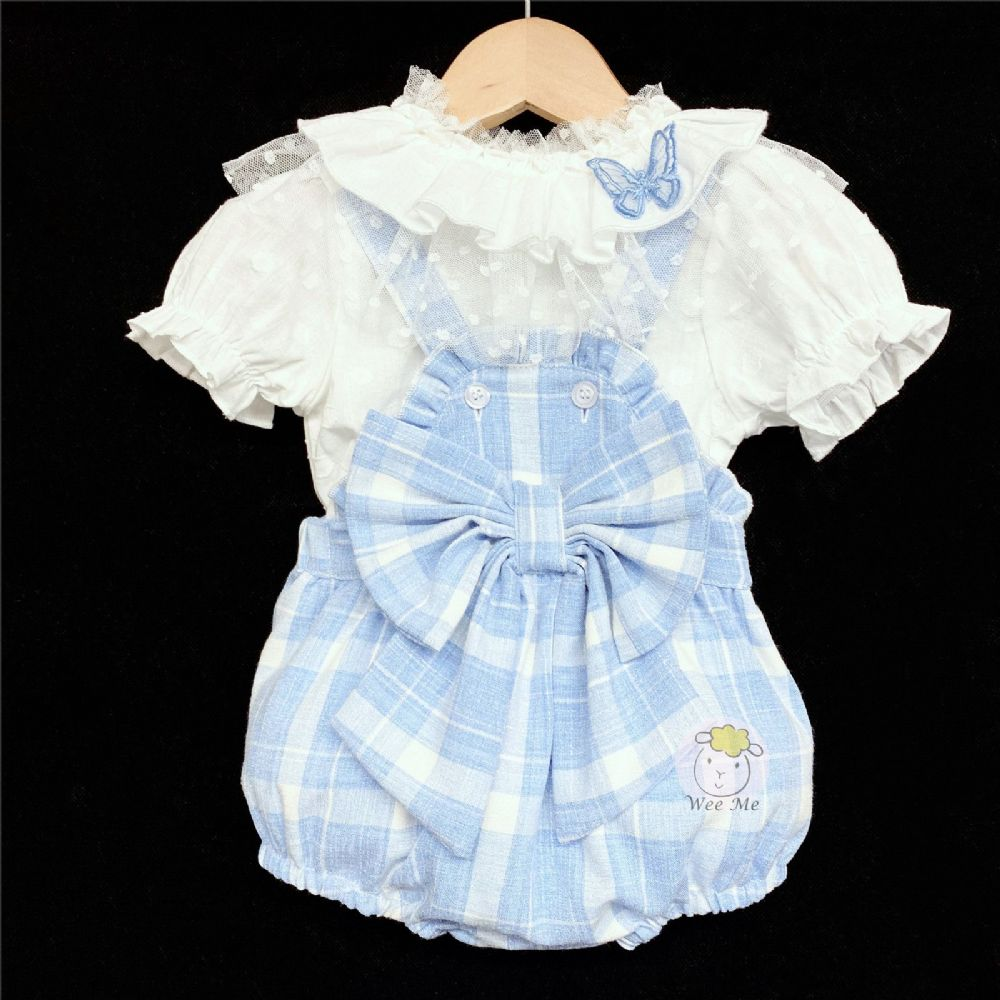 * Baby Girl Spanish Blue Checked Romper Suit Big Bow